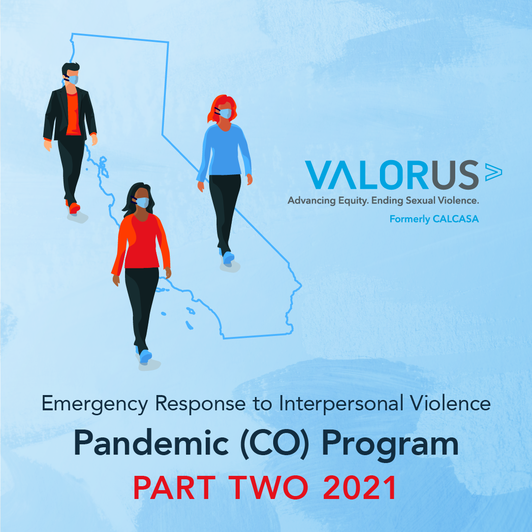 Emergency Response to Interpersonal Violence – Pandemic (CO) Program Part Two 2021 text w=on light blue background with ValorYS logo and outline of Claifornia with three drawgni of peoeple where masks